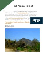 Top 10 Most Popular Hills of India