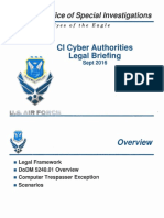 Air Force Office Of Special Investigations Cl Cyber Authorities Legal Briefing Sept 2016