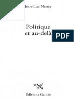 Politique et au-delà (J-L Nancy)