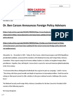 2015.12.08 - Dr. Ben Carson Announces Foreign Policy Advisors