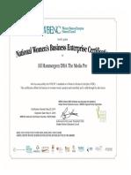 The Media Pro WBENC Certification as a Women's Business Enterprise  2017-2018