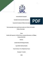 Análisis Del Impuesto a La Renta Único a Empresas Bananeras, En Milagro. Periodo 2014-2015