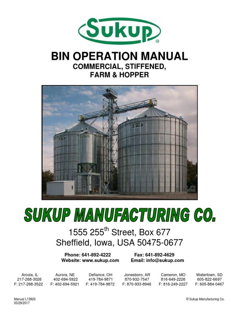 Bin operation manual sukup manufacturing co.