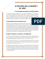 Signos de Peligro en La Madre y El Niño