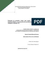 Tesina Propuesta de Portafolio Virtual Para Apoyar Al Profesor de Enseñanza Media en La Promoción de Una Alimentación Saludable e Intelgente Utilizando TIC.