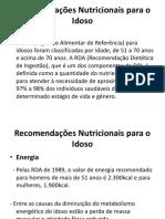 Recomendações Nutricionais Para o Idoso