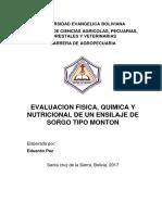 Evaluacion Fisica, Quimica y Nutricional de Un Ensilaje de Sorgo Tipo Monton