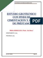 Estudio Geotecnico Con Fines de Cimentación y Área de Préstamo