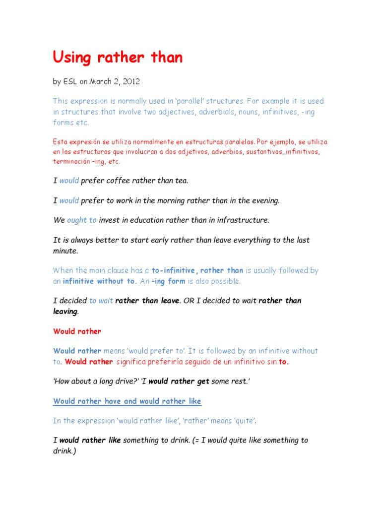 Uso de Rather | Verb | Adverb