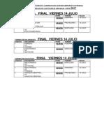 Calendario Finales 14 Julio
