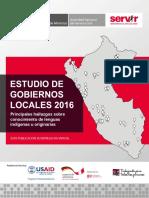 Estudio de Gobiernos Locales 2016 SERVIR Lenguas Indigenas Originarias