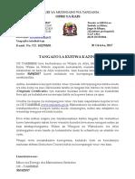 Tangazo La Kuitwa Kazini
