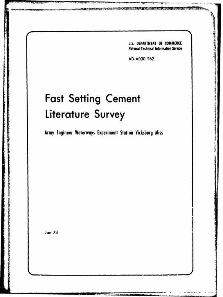 Quick Set Cement pdf | Concrete | Cement