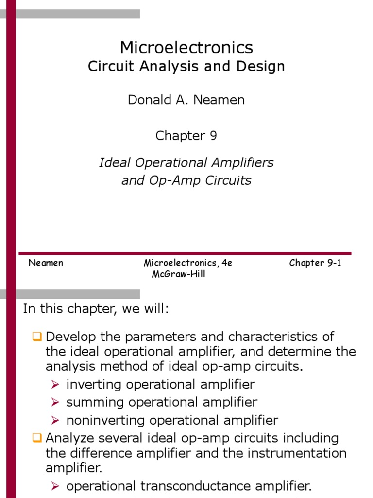 Chapter 9ppt Operational Amplifier Inverting Op Amp Circuit