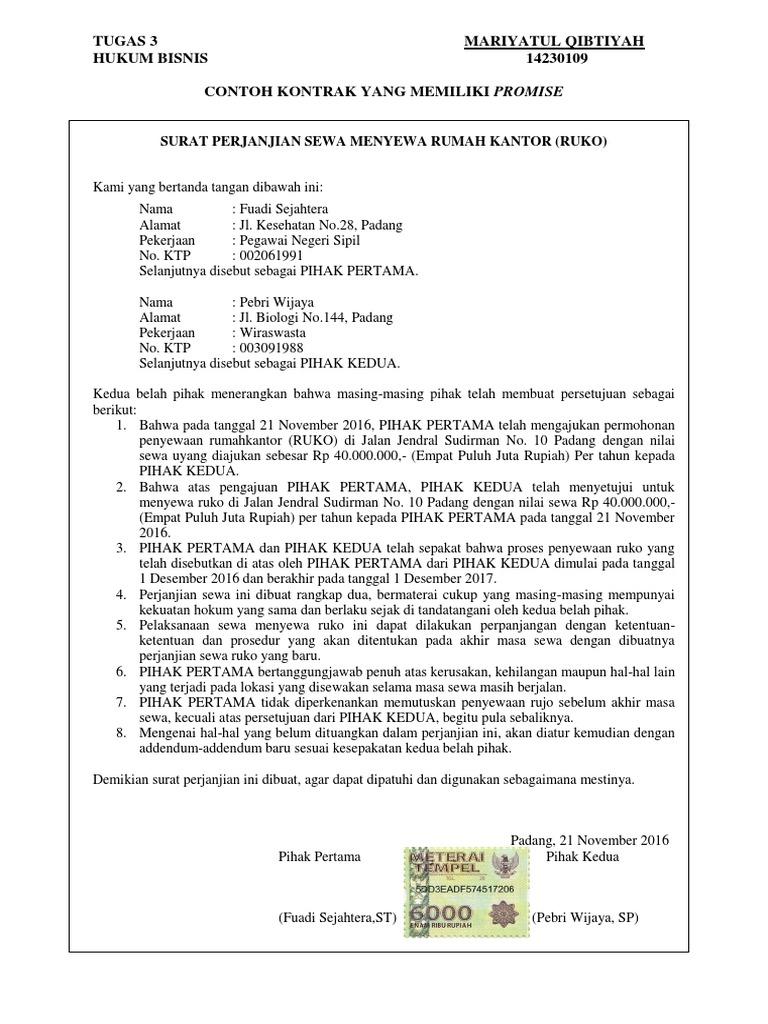 Hukum Bisnis Surat Perjanjian
