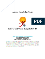 Railway and Union Budget 2016 17