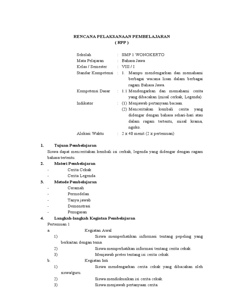 Rpp Kls 8 Smst1