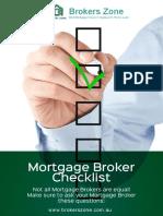 Mortgage Broker and Home Loan Checklist