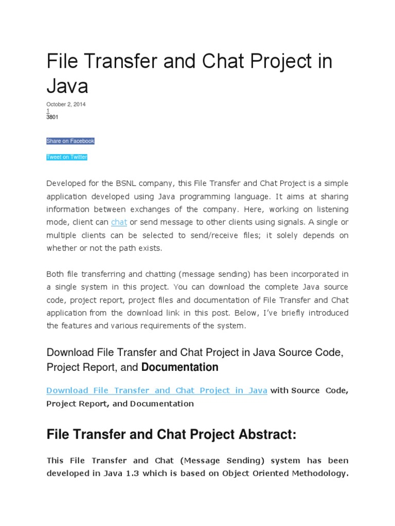 File Transfer and Chat Project in Java   Java (Programming Language