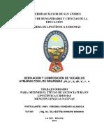 UNIV. VIRGINIA CONDORI ALANOCA - TRABAJO DIRIGIDO-DERIVACIÓN Y COMPOSICIÓN DE VOCABLOS AYMARAS CON LOS GRAFEMAS ph, p´, q, qh, q´, r, s.