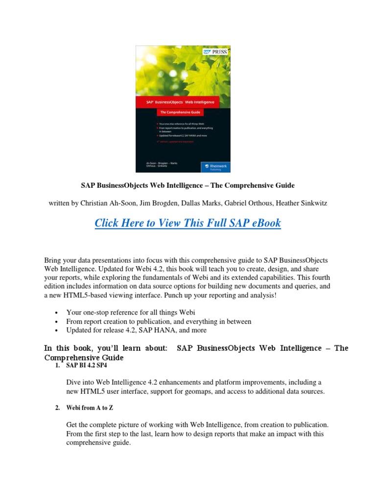 Sap Business Intelligence Ebook