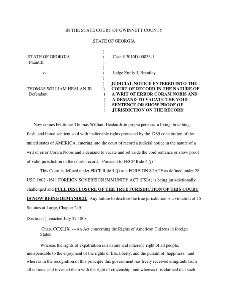 In the State Court of Gwinnett Countycoram Nobis | Coram Nobis