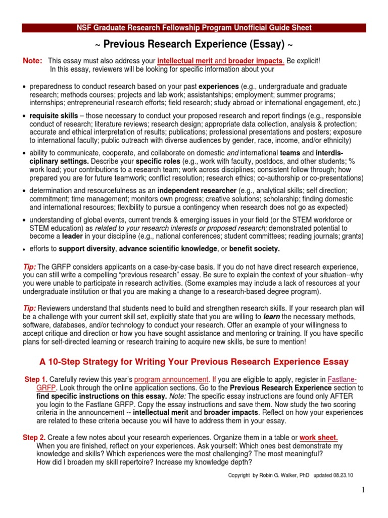 Nsf grfp research experience essay popular literature review writers service au