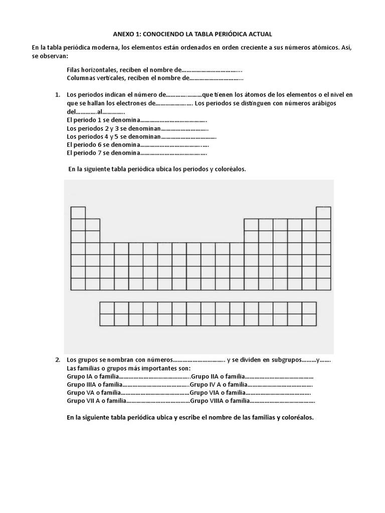 ficha de trabajo de tabla peridica - Tabla Periodica Grupo 6 A