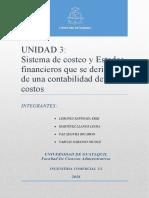 Sistema de costeo y Estados financieros que se derivan de una contabilidad de costos