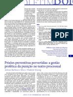 Adrian Silva & Vladimir Koenig - Prisões Preventivas Pervertidas. a Gestão Profética Da Punição No Teatro Processual