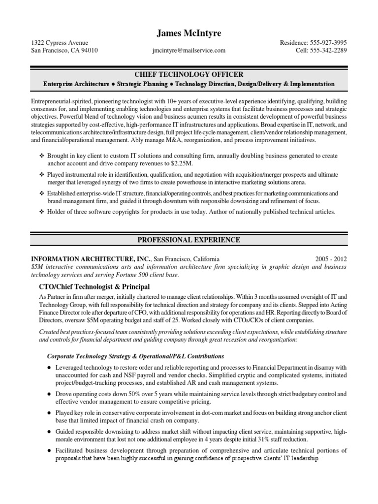 cto chief technology officer executive resume sample