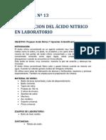 Preparación de Ácido Nitrico en Laboratorio