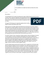 Letter from Massachusetts Chapter of Moms Demand Action Regarding Support for H3979
