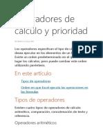 Operadores de Cálculo y Prioridad
