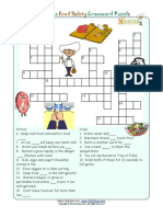 Crossword Puzzle Kids Healthy Words Food Safety