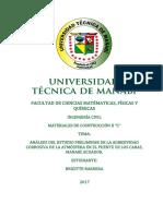 Estudio Preliminar de La Agresividad Corrosiva de La Atmósfera en El Puente de Los Caras, Manabí, Ec