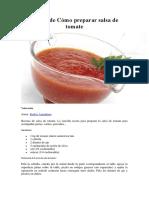 Cómo Preparar Salsa de Tomate