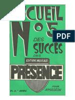 sheets-Editions Musicales Présence - Recueil n°5 des succès des Editions Musicales Présence pour Accordéon (15 Titres)