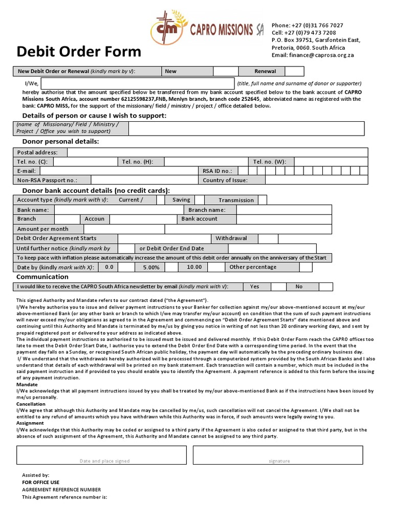 Attractive CAPRO Debit Order Form | Debit Card | Payments