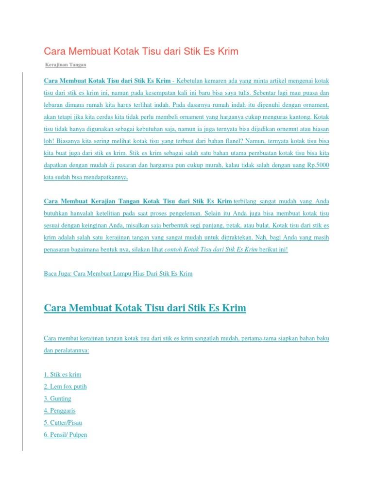 Cara Membuat Kotak Tisu Dari Stik Es Krim 058ed7e856