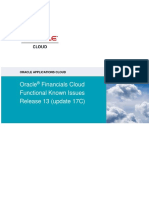 Oracle Financials Cloud Functional Known Issues - Release 13 Update 17C
