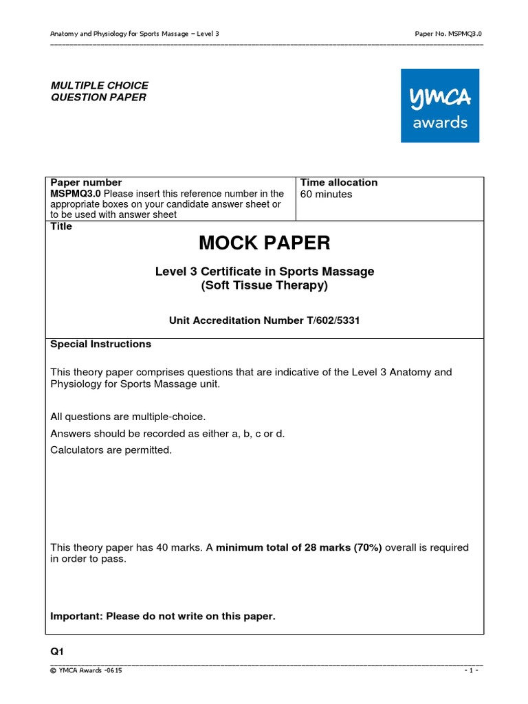 AP YMCA Level 3 Mock Paper- Sports Massage | Knee | Lymph