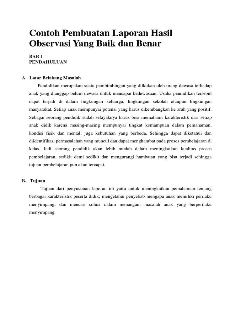 Contoh Pembuatan Laporan Hasil Observasi Yang Baik Dan Benar