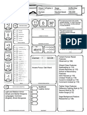 Character Sheet Barry | Role Playing Games | Dungeons & Dragons