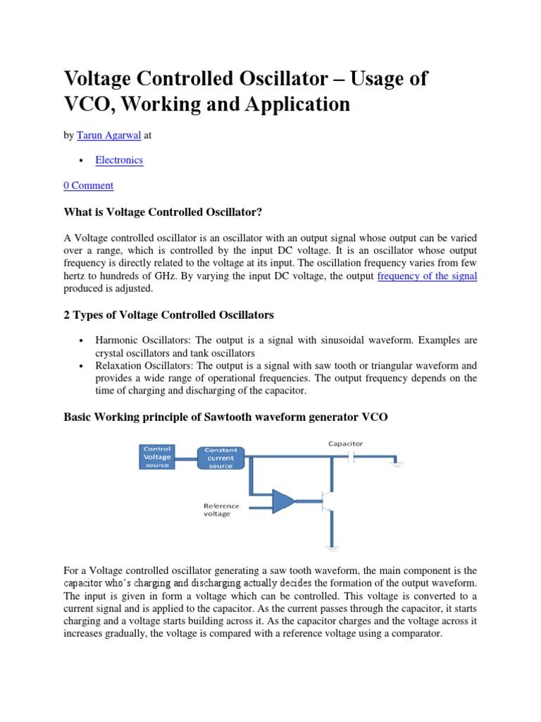 Voltage Controlled Oscillator Usage Of Vco Working And Triangular Waveform Using Schmitt Trigger Applicationdocx Detector Radio Capacitor