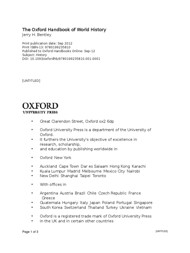 erry H. Bentley-The Oxford Handbook of World History-Oxford University  Press (2011).pdf | Historian | World History