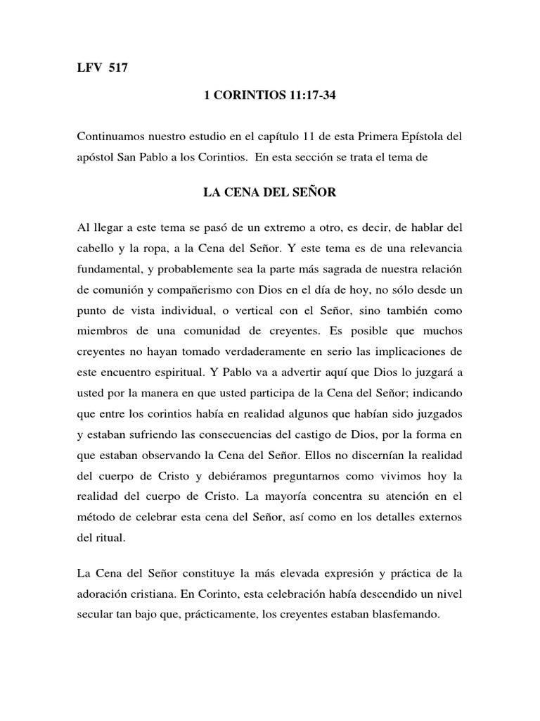 1 Corintios 11 17 34 Eucaristia Primera Epistola A Los Corintios