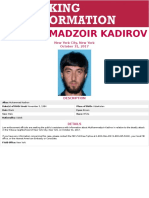 FBI Seeking Information on Mukhammadzoir Kadirov