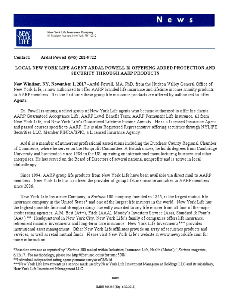 New York Life Aarp >> Ardal Powell Authorized To Offer Aarp Branded Financial