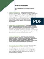 Factores Que Afectan Los Ecosistemas